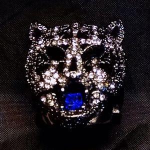 Large Jungle Animal Leopard Head Rhinestones Ring